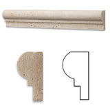 Ivory Travertine Honed OG-1 Chair Rail Molding Trim - American Tile Depot - Commercial and Residential (Interior & Exterior), Indoor, Outdoor, Shower, Backsplash, Bathroom, Kitchen, Deck & Patio, Decorative, Floor, Wall, Ceiling, Powder Room - 1