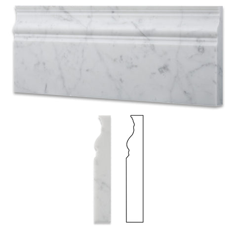 Carrara White Marble Polished Baseboard Trim Molding - American Tile Depot - Commercial and Residential (Interior & Exterior), Indoor, Outdoor, Shower, Backsplash, Bathroom, Kitchen, Deck & Patio, Decorative, Floor, Wall, Ceiling, Powder Room - 1