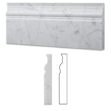 Carrara White Marble Honed Baseboard Trim Molding - American Tile Depot - Commercial and Residential (Interior & Exterior), Indoor, Outdoor, Shower, Backsplash, Bathroom, Kitchen, Deck & Patio, Decorative, Floor, Wall, Ceiling, Powder Room - 1
