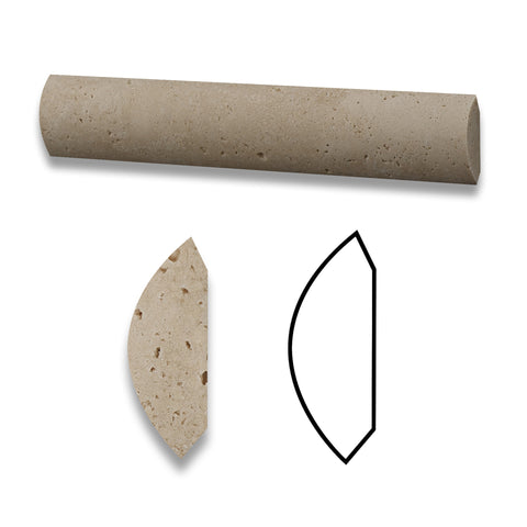 Ivory Travertine Honed Quarter - Round Trim Molding - American Tile Depot - Commercial and Residential (Interior & Exterior), Indoor, Outdoor, Shower, Backsplash, Bathroom, Kitchen, Deck & Patio, Decorative, Floor, Wall, Ceiling, Powder Room - 1