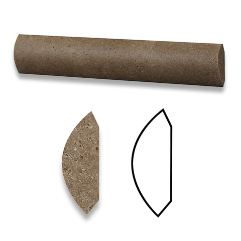 Noce Travertine Honed Quarter - Round Trim Molding - American Tile Depot - Commercial and Residential (Interior & Exterior), Indoor, Outdoor, Shower, Backsplash, Bathroom, Kitchen, Deck & Patio, Decorative, Floor, Wall, Ceiling, Powder Room - 1