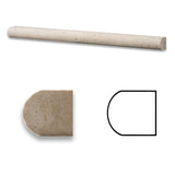 Ivory Travertine Honed 3/4 X 12 Bullnose Liner - American Tile Depot - Commercial and Residential (Interior & Exterior), Indoor, Outdoor, Shower, Backsplash, Bathroom, Kitchen, Deck & Patio, Decorative, Floor, Wall, Ceiling, Powder Room - 1