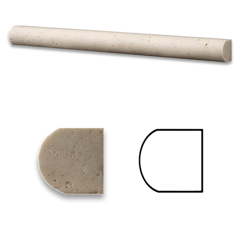 Ivory Travertine Honed 1 X 12 Dome Liner - American Tile Depot - Commercial and Residential (Interior & Exterior), Indoor, Outdoor, Shower, Backsplash, Bathroom, Kitchen, Deck & Patio, Decorative, Floor, Wall, Ceiling, Powder Room - 1