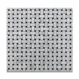 Carrara White Marble Polished Basketweave Mosaic Tile w/ Black Dots - American Tile Depot - Commercial and Residential (Interior & Exterior), Indoor, Outdoor, Shower, Backsplash, Bathroom, Kitchen, Deck & Patio, Decorative, Floor, Wall, Ceiling, Powder Room - 6
