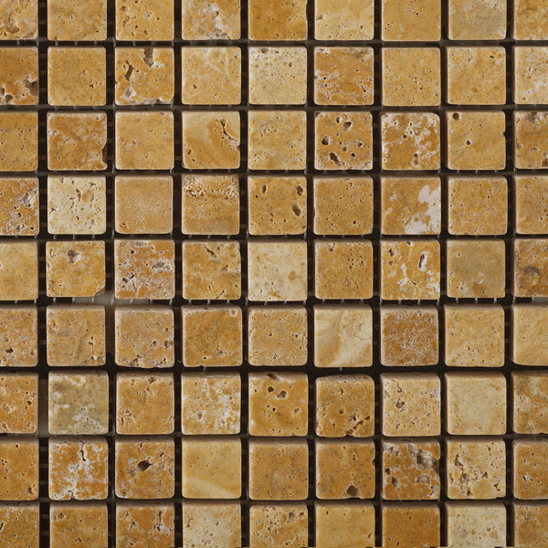 Single Piece Natural Stone Effect Travertine Wall Tile L: 5/8 X 5/8 Gold / Yellow Travertine Mosaic Tile Tumbled