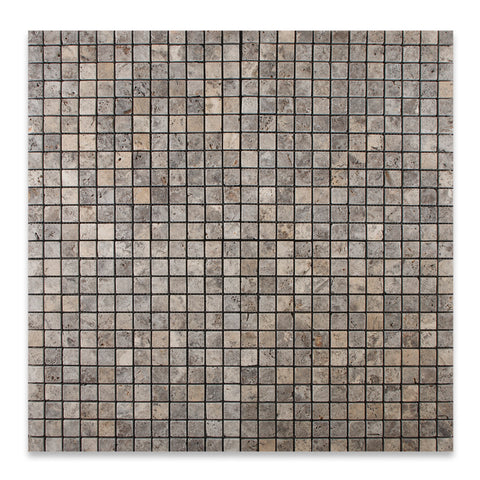 5/8 X 5/8 Silver Travertine Tumbled Mosaic Tile