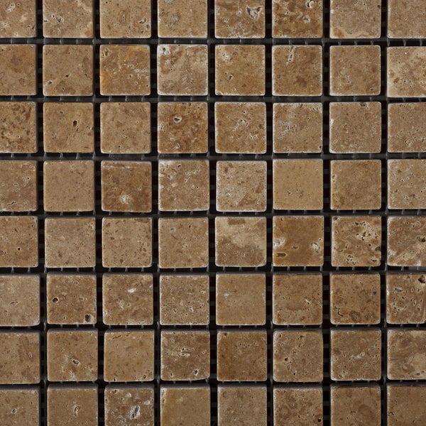 Single Piece Natural Stone Effect Travertine Wall Tile L: 5/8 X 5/8 Noce Travertine Mosaic Tile Tumbled