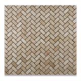 Ivory Travertine Tumbled 1 X 2 Herringbone Mosaic Tile - American Tile Depot - Commercial and Residential (Interior & Exterior), Indoor, Outdoor, Shower, Backsplash, Bathroom, Kitchen, Deck & Patio, Decorative, Floor, Wall, Ceiling, Powder Room - 4
