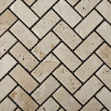 Ivory Travertine Tumbled 1 X 2 Herringbone Mosaic Tile - American Tile Depot - Commercial and Residential (Interior & Exterior), Indoor, Outdoor, Shower, Backsplash, Bathroom, Kitchen, Deck & Patio, Decorative, Floor, Wall, Ceiling, Powder Room - 3