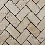 Ivory Travertine Tumbled 1 X 2 Herringbone Mosaic Tile - American Tile Depot - Commercial and Residential (Interior & Exterior), Indoor, Outdoor, Shower, Backsplash, Bathroom, Kitchen, Deck & Patio, Decorative, Floor, Wall, Ceiling, Powder Room - 2