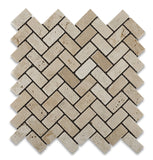 Ivory Travertine Tumbled 1 X 2 Herringbone Mosaic Tile - American Tile Depot - Commercial and Residential (Interior & Exterior), Indoor, Outdoor, Shower, Backsplash, Bathroom, Kitchen, Deck & Patio, Decorative, Floor, Wall, Ceiling, Powder Room - 1