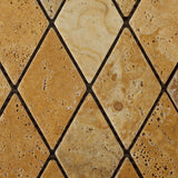 Gold / Yellow Travertine 2 X 4 Tumbled Diamond Mosaic Tile - American Tile Depot - Commercial and Residential (Interior & Exterior), Indoor, Outdoor, Shower, Backsplash, Bathroom, Kitchen, Deck & Patio, Decorative, Floor, Wall, Ceiling, Powder Room - 2