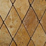 Gold / Yellow Travertine 2 X 4 Tumbled Diamond Mosaic Tile - American Tile Depot - Commercial and Residential (Interior & Exterior), Indoor, Outdoor, Shower, Backsplash, Bathroom, Kitchen, Deck & Patio, Decorative, Floor, Wall, Ceiling, Powder Room - 3