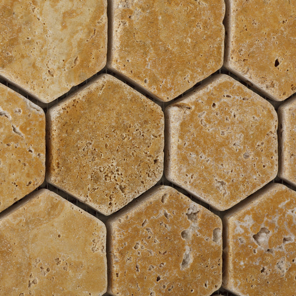Gold Yellow Travertine 2 Hexagon Mosaic Tile Tumbled
