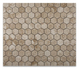 "Cappuccino Marble Polished 2"" Hexagon Mosaic Tile - American Tile Depot - Commercial and Residential (Interior & Exterior), Indoor, Outdoor, Shower, Backsplash, Bathroom, Kitchen, Deck & Patio, Decorative, Floor, Wall, Ceiling, Powder Room - 4"