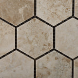 "Cappuccino Marble Polished 2"" Hexagon Mosaic Tile - American Tile Depot - Commercial and Residential (Interior & Exterior), Indoor, Outdoor, Shower, Backsplash, Bathroom, Kitchen, Deck & Patio, Decorative, Floor, Wall, Ceiling, Powder Room - 2"