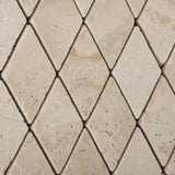 Ivory Travertine 2 X 4 Tumbled Diamond Mosaic Tile - American Tile Depot - Commercial and Residential (Interior & Exterior), Indoor, Outdoor, Shower, Backsplash, Bathroom, Kitchen, Deck & Patio, Decorative, Floor, Wall, Ceiling, Powder Room - 2