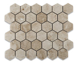 "Cappuccino Marble Polished 2"" Hexagon Mosaic Tile - American Tile Depot - Commercial and Residential (Interior & Exterior), Indoor, Outdoor, Shower, Backsplash, Bathroom, Kitchen, Deck & Patio, Decorative, Floor, Wall, Ceiling, Powder Room - 1"