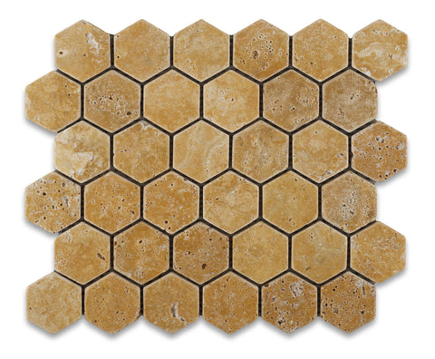 Gold / Yellow Travertine Tumbled 2'' Hexagon Mosaic Tile - American Tile Depot - Commercial and Residential (Interior & Exterior), Indoor, Outdoor, Shower, Backsplash, Bathroom, Kitchen, Deck & Patio, Decorative, Floor, Wall, Ceiling, Powder Room - 1