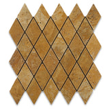 Gold / Yellow Travertine 2 X 4 Tumbled Diamond Mosaic Tile - American Tile Depot - Commercial and Residential (Interior & Exterior), Indoor, Outdoor, Shower, Backsplash, Bathroom, Kitchen, Deck & Patio, Decorative, Floor, Wall, Ceiling, Powder Room - 1