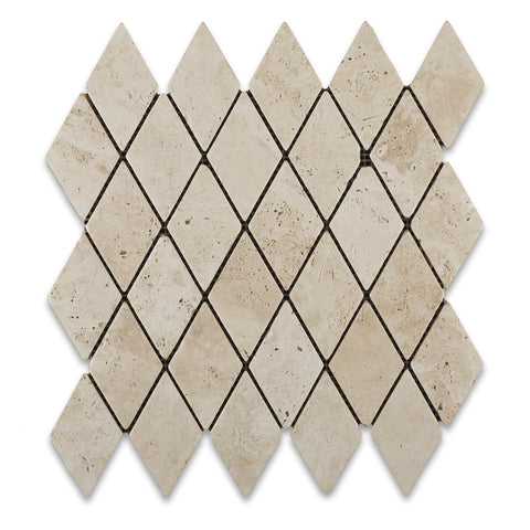Ivory Travertine 2 X 4 Tumbled Diamond Mosaic Tile - American Tile Depot - Commercial and Residential (Interior & Exterior), Indoor, Outdoor, Shower, Backsplash, Bathroom, Kitchen, Deck & Patio, Decorative, Floor, Wall, Ceiling, Powder Room - 1