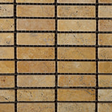 Gold / Yellow Travertine Tumbled Single Strip Mosaic Tile - American Tile Depot - Commercial and Residential (Interior & Exterior), Indoor, Outdoor, Shower, Backsplash, Bathroom, Kitchen, Deck & Patio, Decorative, Floor, Wall, Ceiling, Powder Room - 2