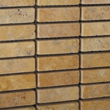 Gold / Yellow Travertine Tumbled Single Strip Mosaic Tile - American Tile Depot - Commercial and Residential (Interior & Exterior), Indoor, Outdoor, Shower, Backsplash, Bathroom, Kitchen, Deck & Patio, Decorative, Floor, Wall, Ceiling, Powder Room - 3