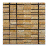 Gold / Yellow Travertine Tumbled Single Strip Mosaic Tile - American Tile Depot - Commercial and Residential (Interior & Exterior), Indoor, Outdoor, Shower, Backsplash, Bathroom, Kitchen, Deck & Patio, Decorative, Floor, Wall, Ceiling, Powder Room - 1