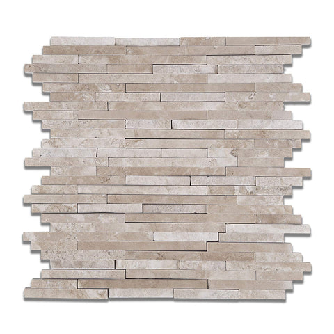 Durango Cream Travertine Polished & Split-faced (Mix )Random Strip Mosaic Tile