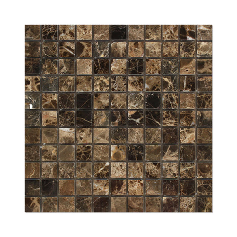 1 X 1 Emperador Dark Marble Polished Mosaic Tile - American Tile Depot - Shower, Backsplash, Bathroom, Kitchen, Deck & Patio, Decorative, Floor, Wall, Ceiling, Powder Room, Indoor, Outdoor, Commercial, Residential, Interior, Exterior