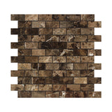 1 X 2 Emperador Dark Marble Polished Brick Mosaic Tile - American Tile Depot - Shower, Backsplash, Bathroom, Kitchen, Deck & Patio, Decorative, Floor, Wall, Ceiling, Powder Room, Indoor, Outdoor, Commercial, Residential, Interior, Exterior