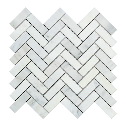 Oriental White / Asian Statuary Marble 1 x 3 Herringbone Mosaic Tile Polished - American Tile Depot