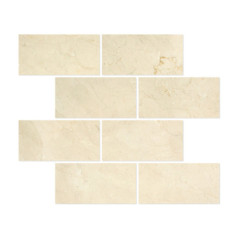 6 X 12 Crema Marfil Marble Subway Brick Field Tile Honed - American Tile Depot