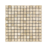 1 X 1 Durango Cream Travertine Tumbled Mosaic Tile - American Tile Depot - Shower, Backsplash, Bathroom, Kitchen, Deck & Patio, Decorative, Floor, Wall, Ceiling, Powder Room, Indoor, Outdoor, Commercial, Residential, Interior, Exterior
