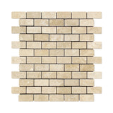 1 X 2 Durango Cream Travertine Tumbled Brick Mosaic Tile - American Tile Depot - Shower, Backsplash, Bathroom, Kitchen, Deck & Patio, Decorative, Floor, Wall, Ceiling, Powder Room, Indoor, Outdoor, Commercial, Residential, Interior, Exterior