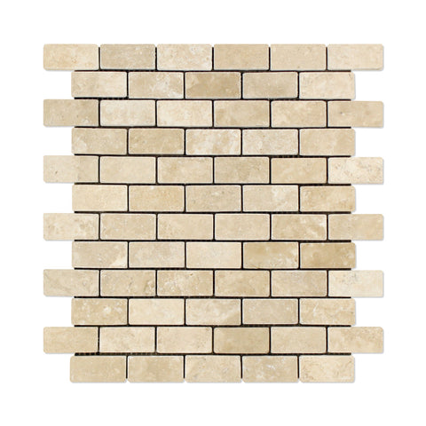 1 X 2 Durango Cream Travertine Brick Mosaic Tile Tumbled American Tile Depot