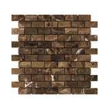 1 X 2 Emperador Dark Marble Tumbled Brick Mosaic Tile - American Tile Depot - Shower, Backsplash, Bathroom, Kitchen, Deck & Patio, Decorative, Floor, Wall, Ceiling, Powder Room, Indoor, Outdoor, Commercial, Residential, Interior, Exterior