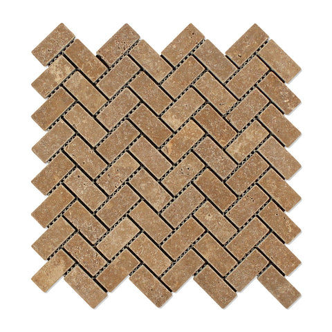 Noce Travertine 1 X 2 Herringbone Mosaic Tile Tumbled- American Tile Depot