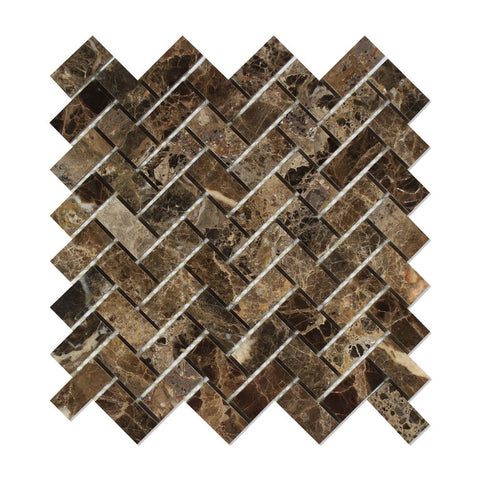 Emperador Dark Marble Polished 1 x 2 Herringbone Mosaic Tile - American Tile Depot - Commercial and Residential (Interior & Exterior), Indoor, Outdoor, Shower, Backsplash, Bathroom, Kitchen, Deck & Patio, Decorative, Floor, Wall, Ceiling, Powder Room - 1