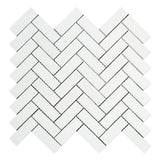Thassos White Marble Polished 1 x 3 Herringbone Mosaic Tile - American Tile Depot
