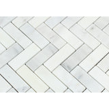 Oriental White / Asian Statuary Marble 1 x 3 Herringbone Mosaic Tile Honed - American Tile Depot