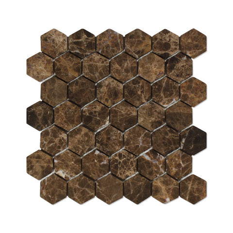"Emperador Dark Marble Tumbled 2"" Hexagon Mosaic Tile - American Tile Depot - Commercial and Residential (Interior & Exterior), Indoor, Outdoor, Shower, Backsplash, Bathroom, Kitchen, Deck & Patio, Decorative, Floor, Wall, Ceiling, Powder Room - 1"