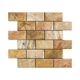 2 X 4 Scabos Travertine Honed & Beveled Brick Mosaic - American Tile Depot - Shower, Backsplash, Bathroom, Kitchen, Deck & Patio, Decorative, Floor, Wall, Ceiling, Powder Room, Indoor, Outdoor, Commercial, Residential, Interior, Exterior