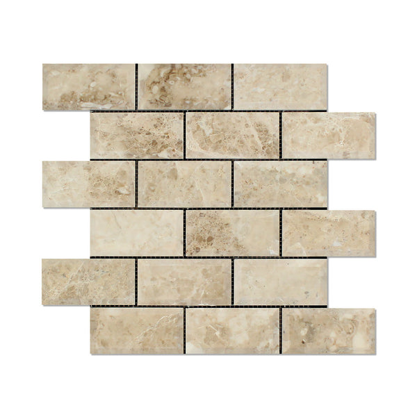 Single Piece Natural Stone Effect Travertine Wall Tile L: 2 X 4 Cappuccino Marble Beveled Brick Mosaic Tile Polished