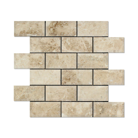 2 X 4 Cappuccino Marble Polished & Beveled Brick Mosaic Tile - American Tile Depot - Shower, Backsplash, Bathroom, Kitchen, Deck & Patio, Decorative, Floor, Wall, Ceiling, Powder Room, Indoor, Outdoor, Commercial, Residential, Interior, Exterior