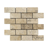2 X 4 Philadelphia Travertine Tumbled Brick Mosaic Tile - American Tile Depot - Shower, Backsplash, Bathroom, Kitchen, Deck & Patio, Decorative, Floor, Wall, Ceiling, Powder Room, Indoor, Outdoor, Commercial, Residential, Interior, Exterior