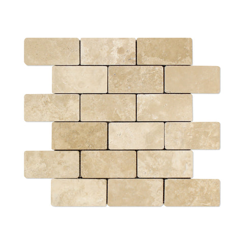 2 X 4 Durango Cream Travertine Tumbled Brick Mosaic Tile - American Tile Depot - Shower, Backsplash, Bathroom, Kitchen, Deck & Patio, Decorative, Floor, Wall, Ceiling, Powder Room, Indoor, Outdoor, Commercial, Residential, Interior, Exterior