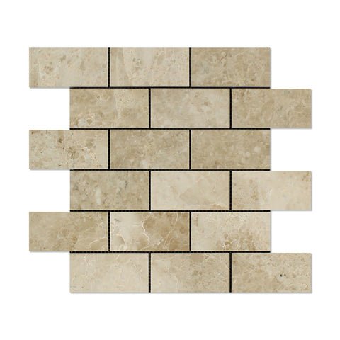2 X 4 Cappuccino Marble Polished Brick Mosaic Tile - American Tile Depot - Shower, Backsplash, Bathroom, Kitchen, Deck & Patio, Decorative, Floor, Wall, Ceiling, Powder Room, Indoor, Outdoor, Commercial, Residential, Interior, Exterior