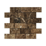 2 X 4 Emperador Dark Marble Polished Brick Mosaic Tile - American Tile Depot - Shower, Backsplash, Bathroom, Kitchen, Deck & Patio, Decorative, Floor, Wall, Ceiling, Powder Room, Indoor, Outdoor, Commercial, Residential, Interior, Exterior