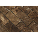 2 X 4 Emperador Dark Marble Tumbled Brick Mosaic Tile - American Tile Depot - Shower, Backsplash, Bathroom, Kitchen, Deck & Patio, Decorative, Floor, Wall, Ceiling, Powder Room, Indoor, Outdoor, Commercial, Residential, Interior, Exterior